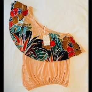 New Free People Top One Shoulder Floral Size S